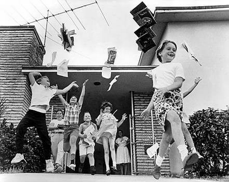 School's Out Summer Holidays children jump for joy school term end ...